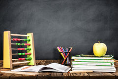 Desk Of Student, Abacus, Books and Pencils royalty free stock photography
