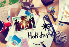 Desk with Summer Photographs and Notebook.  royalty free stock photos