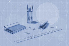 Desk supplies background Stock Photos