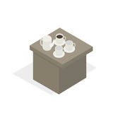 Desk with Tea Set in Working Break Cartoon Style. Table with porcelain tea set, break during business training on white background. Vector illustration of white Royalty Free Stock Photography