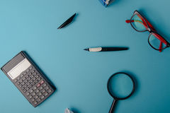 Desk with Tools and Notebook office desk Stock Photo