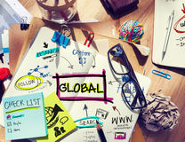 Desk with Tools and Notes Global Communication. Office Desk with Tools and Notes Global Communication stock images