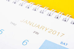 Desk top calendar January 2017 close up. Royalty Free Stock Photo