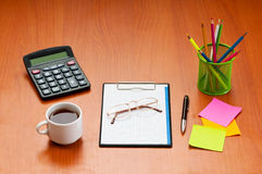 Desk top with  items Stock Photography