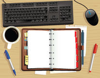 Desk top and leather desk diary Stock Image