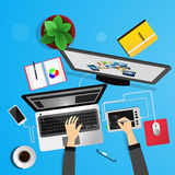 Desk top view of the designer. Royalty Free Stock Photo