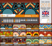 Desk triangle calendar 2018 template with native rosettes design. Size: 22 cm x 12 cm. Format horizontal. Vector image. English version Royalty Free Stock Image