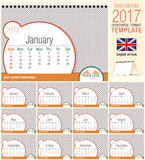Desk triangle calendar 2017 template. Size: 210mm x 150mm. Format A5. Vector image. English version Royalty Free Stock Photo