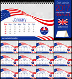 Desk triangle USA flag calendar 2017 template. Size: 210mm x 150mm. Format A5. Vector image. English version Royalty Free Stock Images