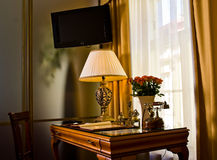Desk and TV in hotel room Royalty Free Stock Photography