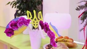 Desk with Ukrainian symbolism stock video