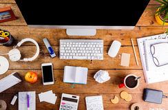 Desk with various gadgets and office supplies. Flat lay Stock Image