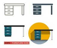 Desk vector icon. Different types of styling Stock Photos
