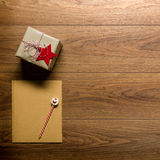 Desk view from above with letter to santa and presents, retro xmas concept Royalty Free Stock Image