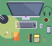 Desk view flat design Royalty Free Stock Photos