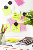 Desk With  Post It  Notes Royalty Free Stock Images