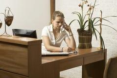 desk woman Στοκ Εικόνες