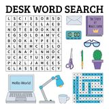 Desk word search game for kids. Vector illustration for learning Royalty Free Stock Photography
