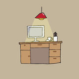 Desk working space and lamp Royalty Free Stock Images