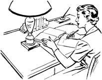 At Desk Writing夫人 免版税库存图片