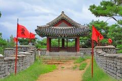 Deska Korea UNESCO światowe dziedzictwo Jest usytuowanym †'Hwaseong forteca - pawilon Obraz Stock