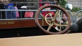 Deska rozdzielcza i kierownica stary K-R-I-T samochod?w K 1913 Tourer 25hp obraz royalty free