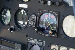 Deska rozdzielcza panel w śmigłowcowym kokpicie, szczegół Zdjęcie Stock