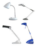 Desklamp pack. 4 desk lamps, isolated Royalty Free Stock Image