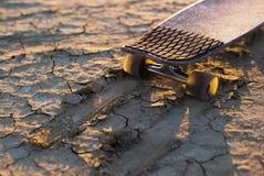 Deskorolka lub longboard wtykaliśmy w piasku w pustyni przy zmierzchem Fotografia Royalty Free