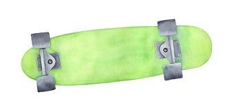 Deskorolka z jaskrawym zieleni watercolour wzorem ilustracja wektor