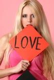 deskowa dziewczyny mienia czerwień seksowna Obraz Royalty Free