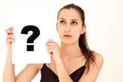 deskowa oceny pytania kobieta Fotografia Royalty Free