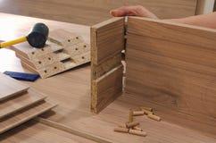 Deskowego chipboard rżnięte części Zdjęcia Stock