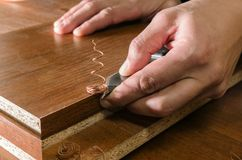 Deskowego chipboard rżnięte części Obrazy Stock