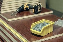 Deskowego chipboard rżnięte części Zdjęcie Stock