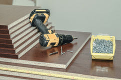 Deskowego chipboard rżnięte części Fotografia Royalty Free