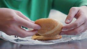 deskowej babeczki kulinarny tnący świeży hamburgeru mięso minced drewnianego surowego warzywa Kawałki ogórkowy kładzenie na babec zdjęcie wideo