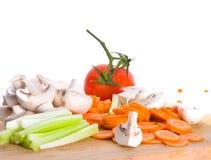 deskowi rżnięci warzywa Obrazy Stock