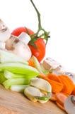 deskowi rżnięci warzywa Zdjęcia Stock