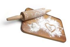 deskowy ciasta mąki rolownik Fotografia Stock