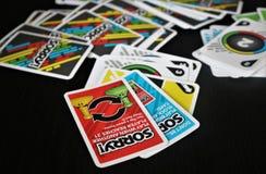 Deskowy karcianej gry ` Zmartwiony! ` zdjęcie stock