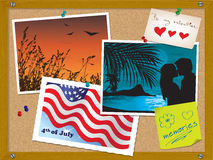 deskowy korek zauważa pocztówkowe fotografii szpilki Zdjęcia Royalty Free