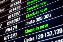 Deskowy panel z wszystkie odprawa lotami Fotografia Stock