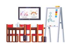 Deskowy pokój lub sala konferencyjna z stołem Obraz Stock