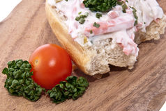deskowy tnący mięso stacza się sałatki Fotografia Stock