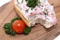 deskowy tnący mięso stacza się sałatki Obraz Stock