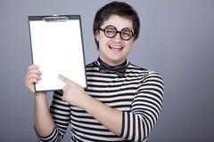 deskowych śmiesznych mężczyzna biurowy przedstawienie Zdjęcia Stock