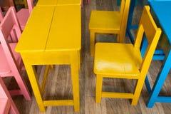 The desks and colourful. The desks and colourful in The school stock photos