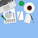 Desks laptop screen illustration of business people Top View angle above the office Stock Images