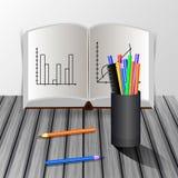 desktop κόκκινο εκπαίδευσης έννοιας βιβλίων μήλων απεικόνιση αποθεμάτων